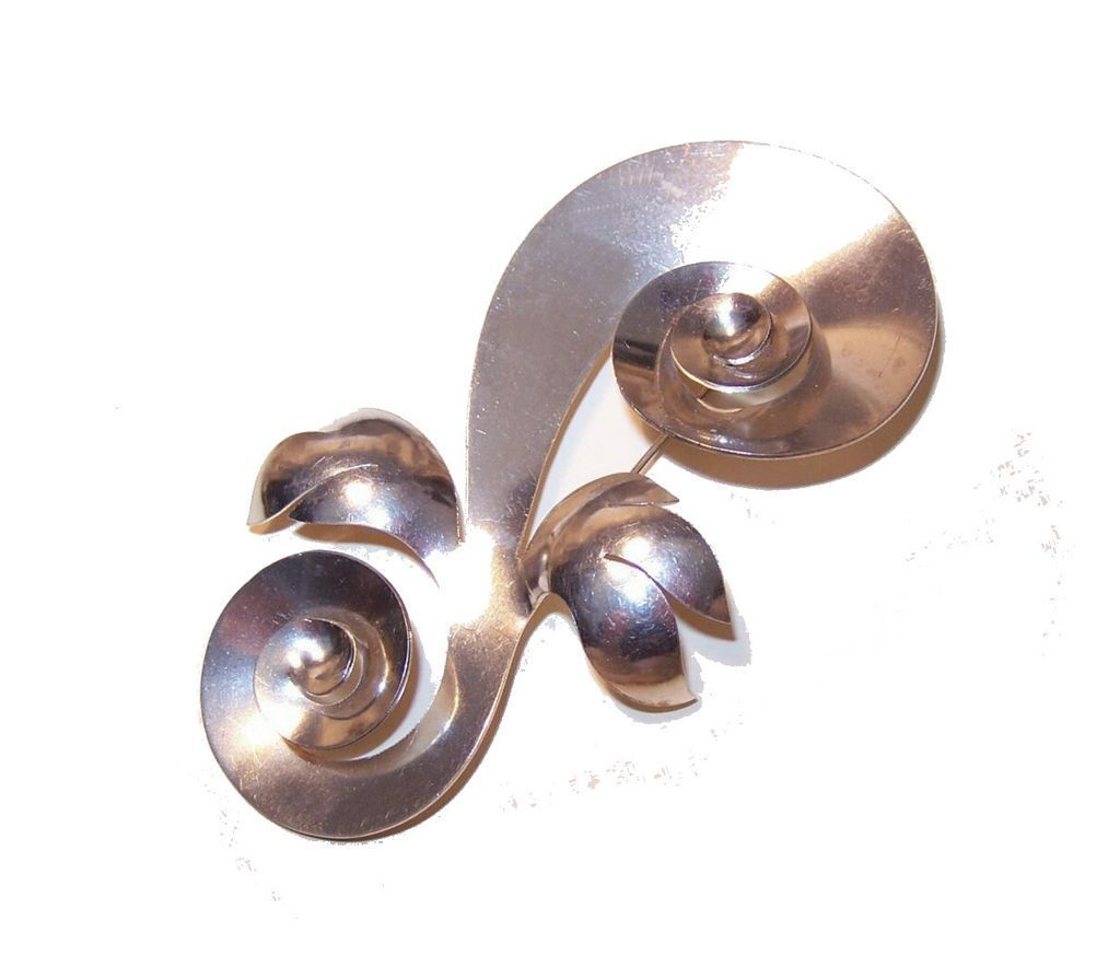 Retro Modern STERLING SILVER Demi-Parure: Large Swirl Pin with Earrings!
