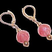 Vintage GOLD FILLED & Tangerine Quartz Drop Earrings!