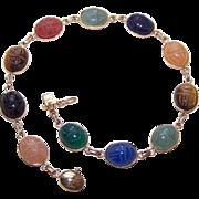 "Vintage 14K Gold & Semi-Precious Stone 8-1/4"" SCARAB Bracelet!"