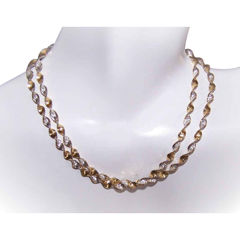 Vintage DANECRAFT Sterling Silver & Vermeil Twist Tinsel Chain Necklace!