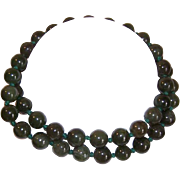 Vintage Necklace of 10mm GREEN JADE Beads!