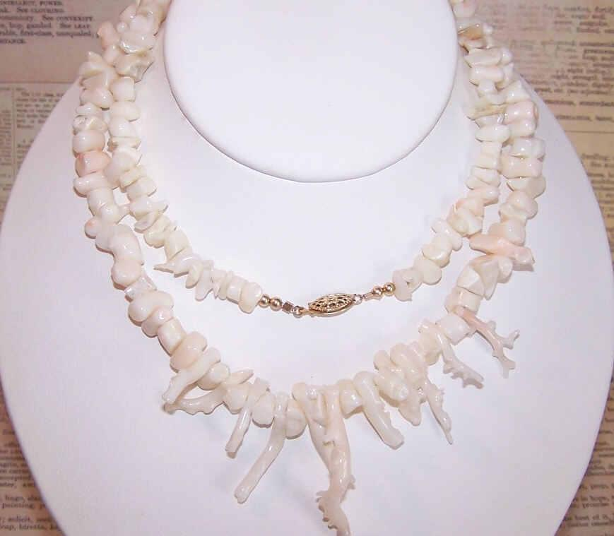 """Vintage 30"""" Necklace of Branch PINK CORAL (Angel Skin)!"""