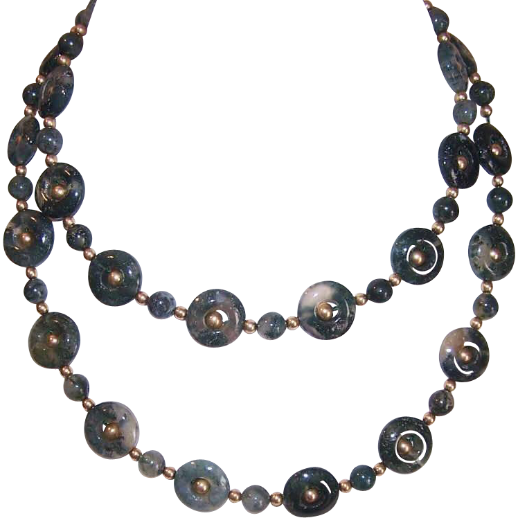 """Vintage 26"""" Green MOSS AGATE Disc & Round Bead Necklace!"""