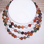 "Lengthy 36"" Necklace of AGATE BEADS - Lots of Variety!"