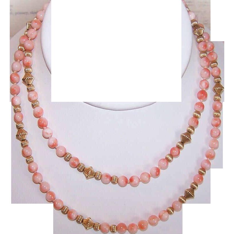 "Vintage 27"" PINK CORAL & Gold Filled Bead Necklace!"