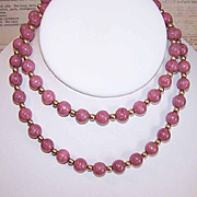 "Vintage 24"" Rhodochrosite Agate Bead Necklace with Gold Filled Findings!"