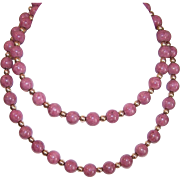 """Vintage 24"""" Rhodochrosite Agate Bead Necklace with Gold Filled Findings!"""