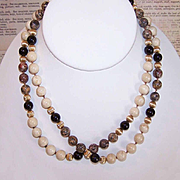 "Vintage 30"" Necklace of AGATE Beads - Tan/Brown & Black!"