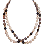 """Vintage 30"""" Necklace of AGATE Beads - Tan/Brown & Black!"""