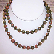 "Vintage 28"" Necklace of 8mm Unakite Beads!"
