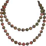 """Vintage 28"""" Necklace of 8mm Unakite Beads!"""