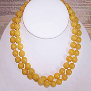 "Vintage Undyed 32"" YELLOW JADE 10mm Bead Necklace!"