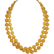 """Vintage Undyed 32"""" YELLOW JADE 10mm Bead Necklace!"""