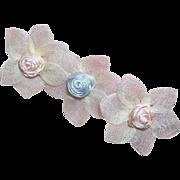 4 Vintage FRENCH Satin Floral Appliques/Dress Embellishments!