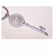 Vintage STERLING SILVER & White Rhinestone Pendant - Key Shaped!