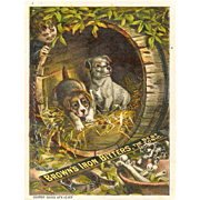 VICTORIAN Trade Card for Brown's Iron Bitters - Barrel Full of Puppies!