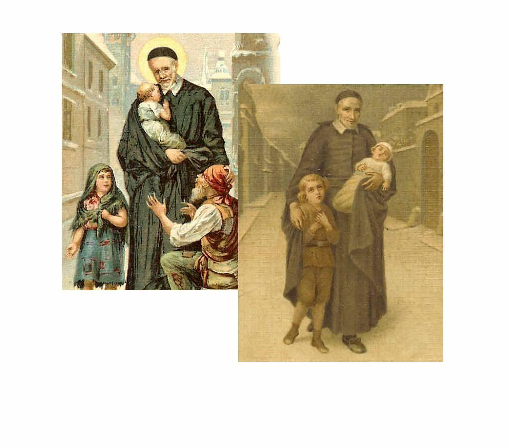 Two C.1900 Prayer Cards for St. Vincent de Paul!