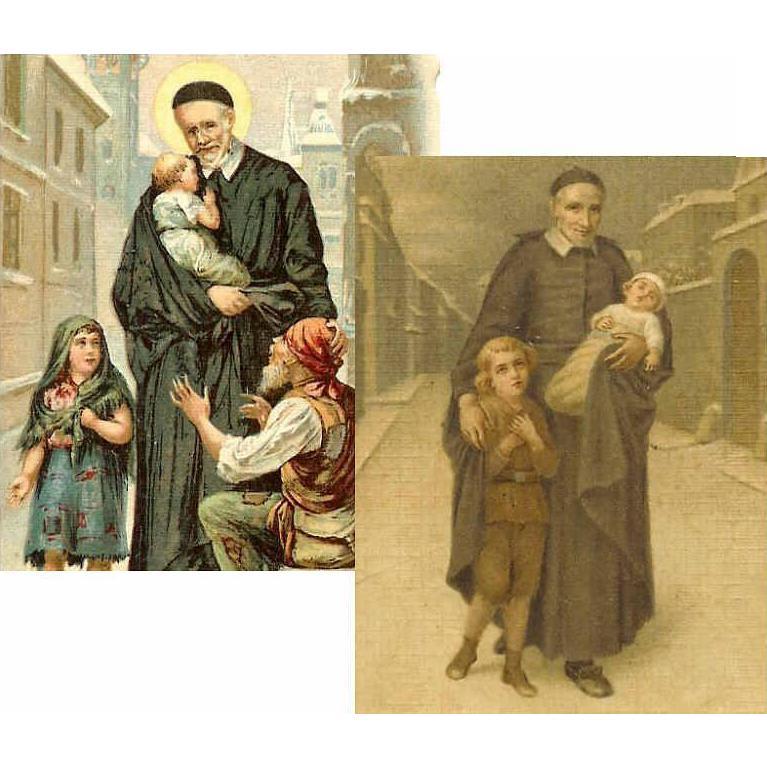 Two C.1900 Prayer Cards for St. Vincent de Paul!