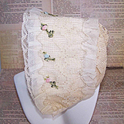 Vintage FRENCH Baby Bonnet - Lace and French Ribbonwork Trim!