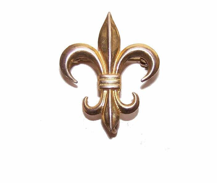 C.1930 GOLD FILLED Watch Pin/Brooch - French Fleur de Lis!