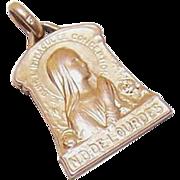 FRENCH FIX Religious Medal/Pendant - Virgin Mary/St. Bernadette at Lourdes!