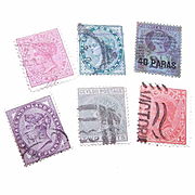 6 Diff. QUEEN VICTORIA Stamps - Ceylon, India, New Zealand!
