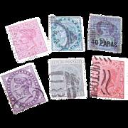 6 Diff. QUEEN VICTORIA Stamps - Ceylon, India, New Zealand!