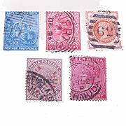 5 Diff. QUEEN VICTORIA Stamps - Cape of Good Hope, Australia, India, Bermuda!