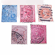 5 Diff. QUEEN VICTORIA Stamps - Cape of Good Hope, Australia, India, Bermuda!