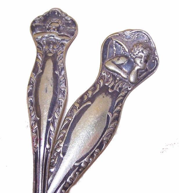 2 Vintage SILVERPLATE Utensils - Raphael's Cherub/Cupid at Top!