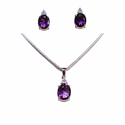 Stunning 14K Gold, 7.63CT TW Amethyst & Diamond Set - Pendant and Earrings!