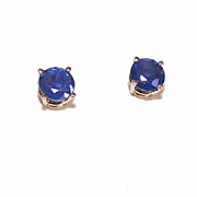 ESTATE 14K Gold & 1CT TW Blue Sapphire Pierced Earrings!