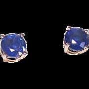 ESTATE 14K Gold & 1CT TW Blue Sapphire Pierced Earrings!