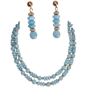"Vintage FACETED CHALCEDONY & Gold Filled 28"" Necklace and Drop Earrings!"