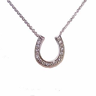 Vintage 14K Gold & .27CT TW Diamond Horseshoe Necklace!