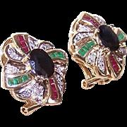 ESTATE 14K Gold, 2CT TW Diamond, Ruby, Emerald & Sapphire Earrings!