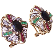 ESTATE 14K Gold, 2CT TW Diamond, Ruby, Emerald & Sapphire Earrings!