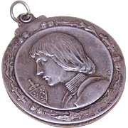 C.1900 FRENCH Silverplate Sliding Mirror Locket/Pendant - Joan of Arc Front!