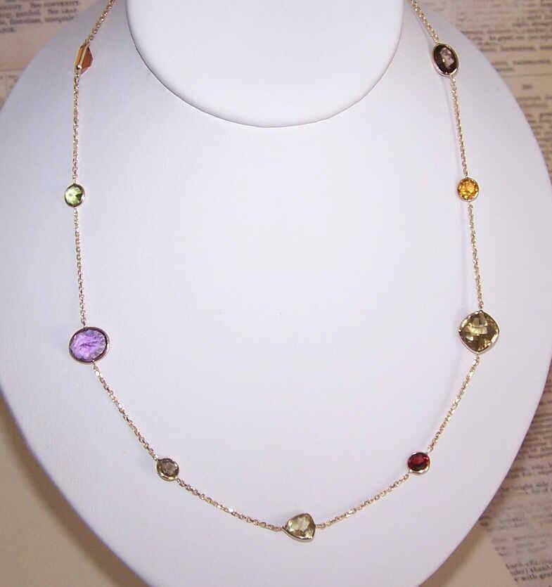 Vintage ESTATE 14K Gold & 11CT TW Gemstone Station Necklace!