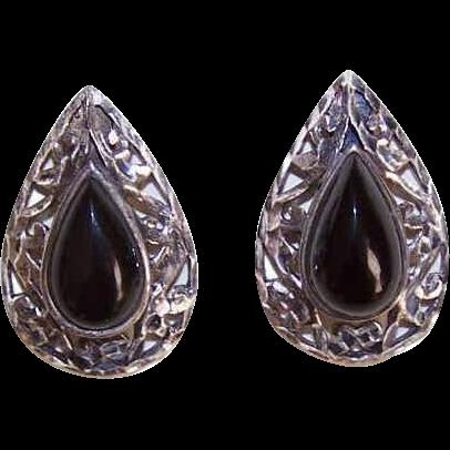 Vintage STERLING SILVER & Black Onyx Cut-Work Earrings!
