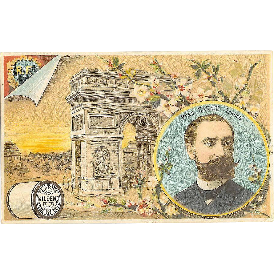 VICTORIAN Trade Card for Clarks Mile End Spool Cotton - French Arc de Triomphe!