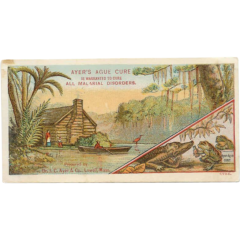 VICTORIAN Trade Card for Ayer's Ague Cure - Swamp, Log Cabin, Alligator & Frogs!