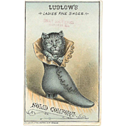 VICTORIAN Trade Card for Ludlow's Ladies Fine Shoes - Cat in Boot Graphic!
