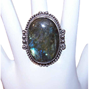 HUGE Sterling Silver & Labradorite Ring!
