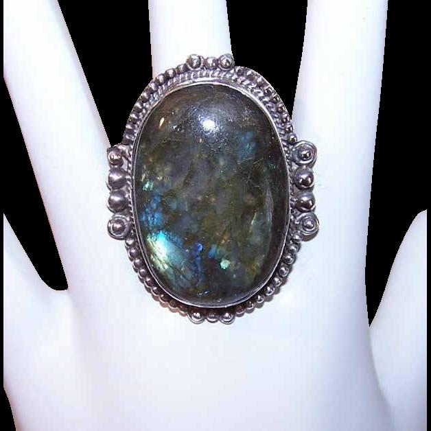 HUGE Sterling Silver & Labradorite Ring!