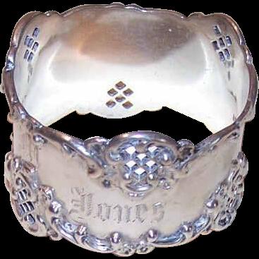 C.1900 STERLING SILVER Napkin Ring with Engraving - Gazella M Jones!