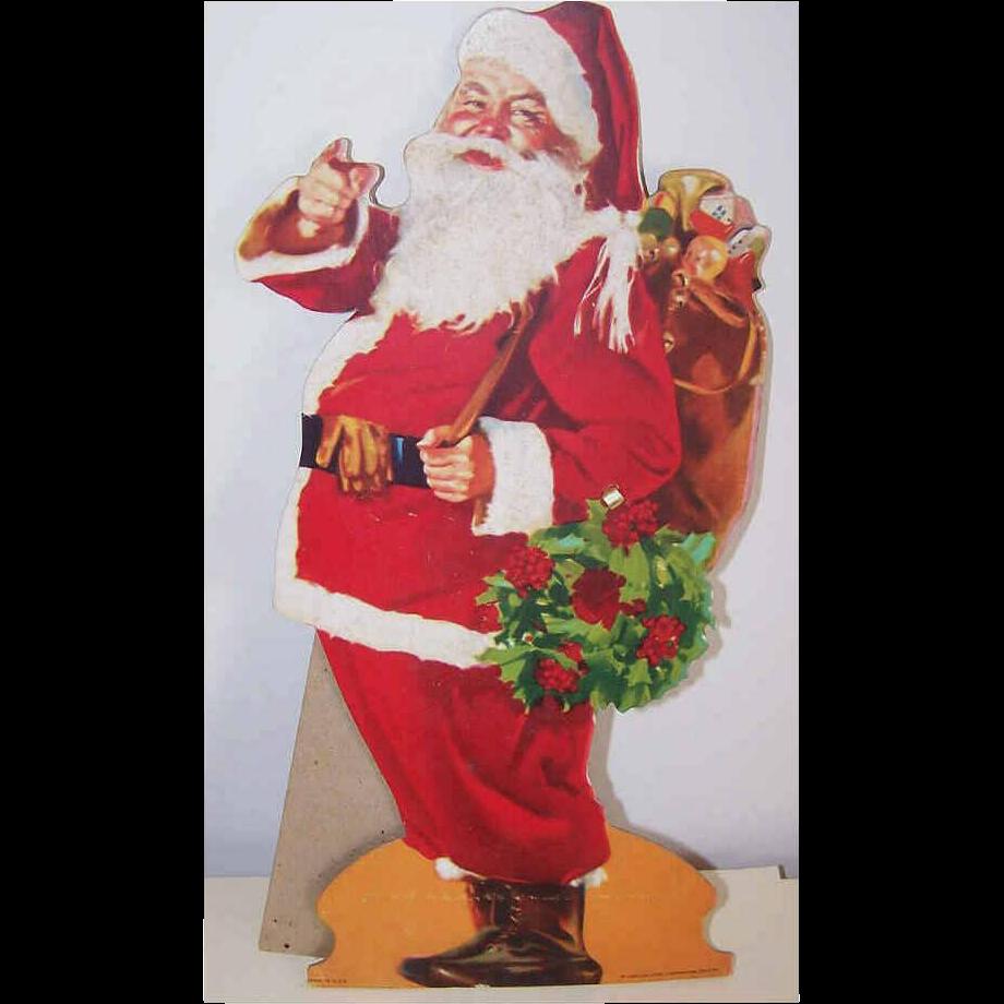 C.1960 COCA COLA Stand Up Cardboard Santa Claus - Haddon Sundblum Image!