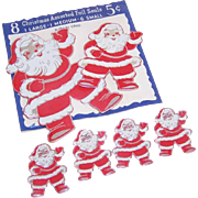 C.1950 Pkg of Christmas Foil Seals/Stickers - Santa Claus!