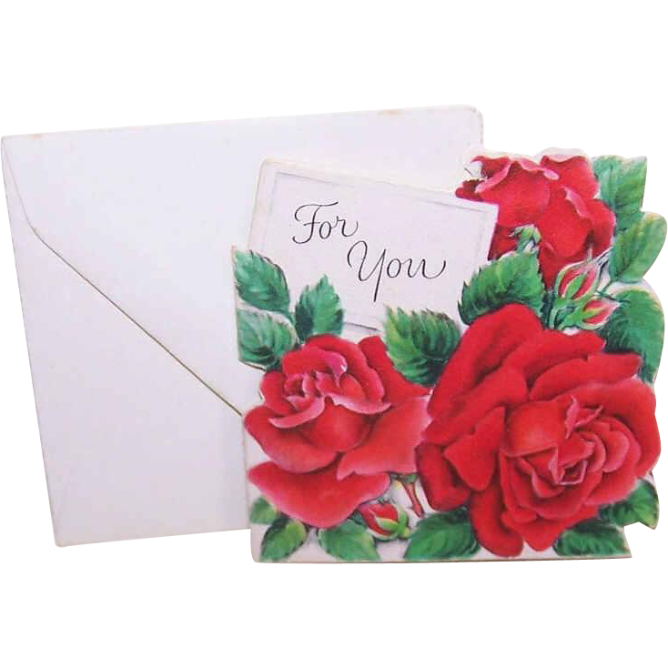 C.1950 Gift Card (Small) by Hallmark - Red Roses - For You!
