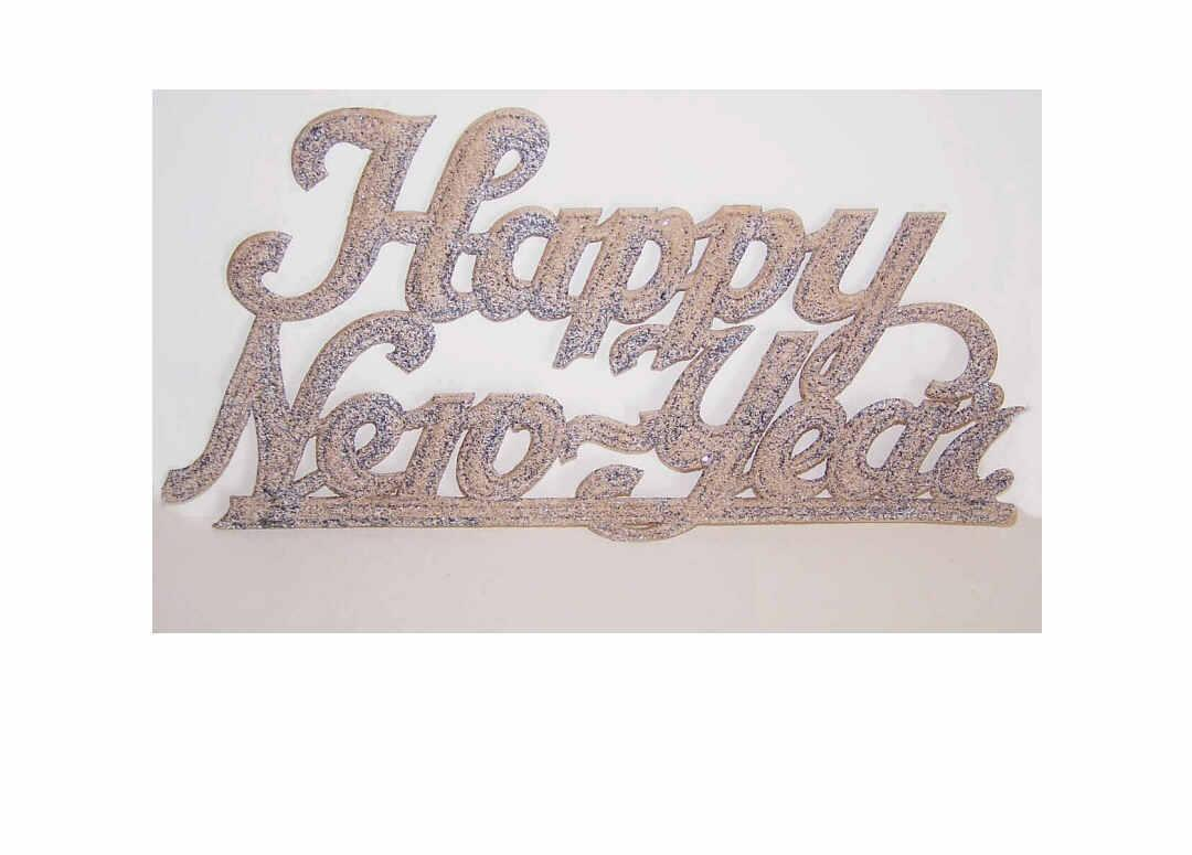 C.1950 German HAPPY NEW YEAR Sign with Silver Glitter!